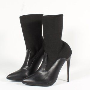 Lost Ink Stiletto Heels Ankle Black Stretch Boots